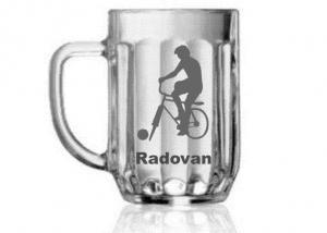 pohár na pivo pre cyklistov s motívom na želanie