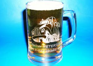 darček pre muža - pivný pohár na pivo s motívom a textom na želanie