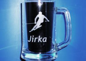 pivné sklo, poháre s menom na zákazku - nielen darčeky pre lyžiarov